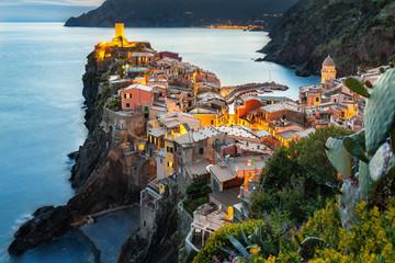 Fototapeta Vernazza zachód słońca, Cinque Terre, Liguria, La Spezia, Włochy obraz