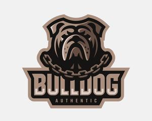 Bulldog modern logo. Dog design emblem template for a sport and eSport team.