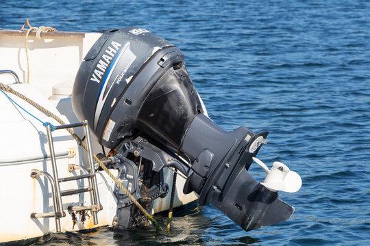 Primelin – France, October 04, 2018 : Yamaha motor of a boat