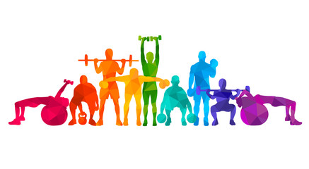 Detailed vector illustration silhouettes strong rolling people set girl and man sport fitness gym body-building workout powerlifting health training dumbbells barbell. Healthy lifestyle Papier Peint