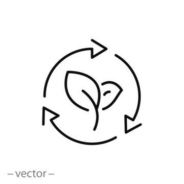 organic recycle icon, eco care, reusable environmental, ecology friendly reuse, logo, thin line web symbol on white background - editable stroke vector illustration eps 10