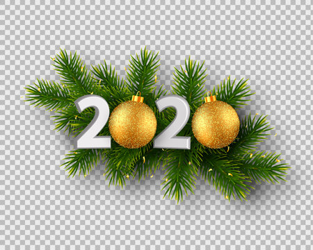 2020 New Year sign with realistic pine branches and glitter balls. Isolated on transparent background. Vector illustration