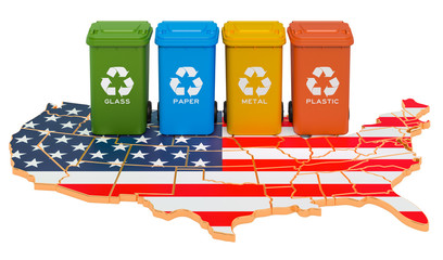 Waste recycling in the USA. Colored trash cans on the map of the United States, 3D rendering