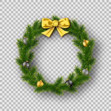 Realistic Christmas wreath isolated on transparent background. Vector illustration