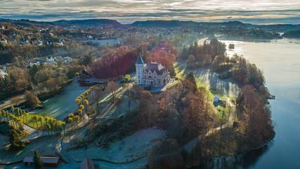 Foto auf Acrylglas Blau türkis Aerial view of Royal mansion Gamlehaugen. Bergen, Norway.