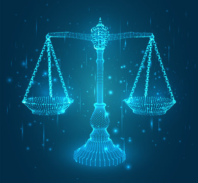virtual 3d libra are on the table. vector background.