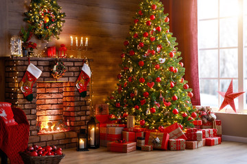 interior christmas. magic glowing tree, fireplace, gifts  .