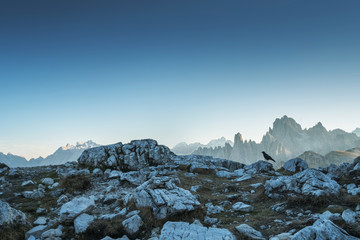 Dolomites Alps rocky mountain range at Tre Cime Di Lavaredo