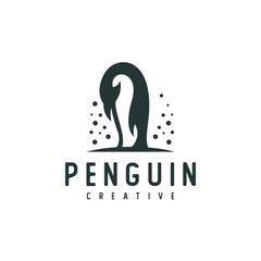 Penguin silhouette logo vector illustration