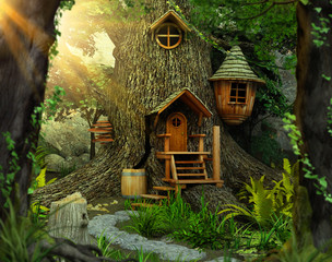 Enchanting fairy tree home inside an old white oak