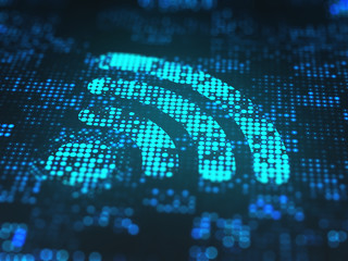 Sign of the wifi on digital screen, close up.
