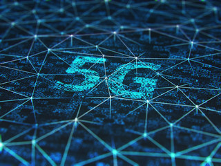 Sign of the 5g on digital screen, close up.