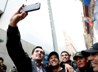 Santa Cruz civic leader and major opposition figure Camacho poses for a picture in La Paz