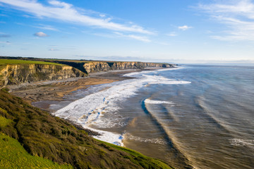 Beautiful Aerial view of Dunraven bay united kingdom Wall mural