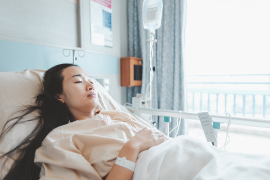 Asian woman lying on the hospital bed for admitting.Hospitalization concept.