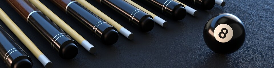 Eight ball, pool banner with cues and black ball.