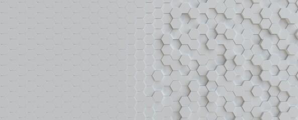 Fotobehang - Hexagonal light grey, white background texture, 3d illustration, 3d rendering