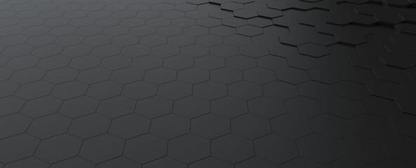 Fotobehang - Hexagonal dark grey, black background texture, 3d illustration, 3d rendering