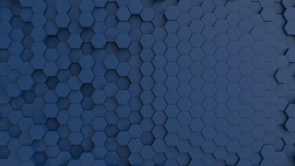 Fotobehang - Hexagonal dark blue navy background texture placeholder, 3d illustration, 3d rendering backdrop