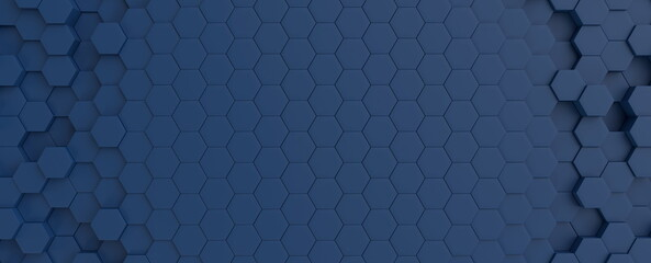 Hexagonal dark blue navy background texture placeholder, radial center space, 3d illustration, 3d rendering backdrop