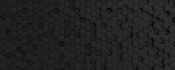 Hexagonal dark grey, black background texture, 3d illustration, 3d rendering Fotobehang