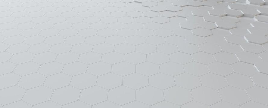 Hexagonal light grey, white background texture, 3d illustration, 3d rendering