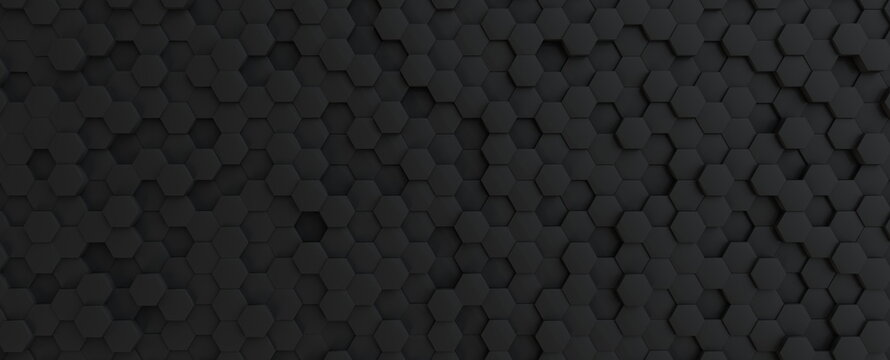 Hexagonal dark grey, black background texture, 3d illustration, 3d rendering
