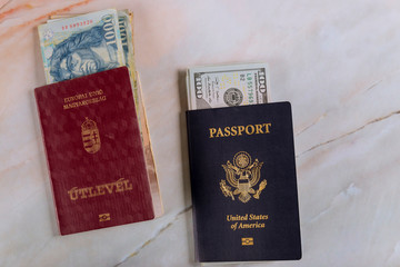 American biometric passport and Hungarian passport money on US dollars and money banknotes forints