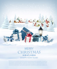 Photo sur Plexiglas Christmas holiday background with colorful gift boxes and garland. Vector.