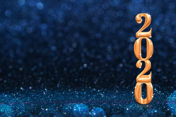 2020 golden new years 3d rendering at abstract sparkling dark blue glitter perspective background...
