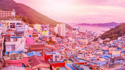 Foto auf Acrylglas Rosa Lovey Panorama scenes of Gamcheon Culture Village at sunset, Busan, Korea