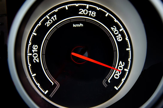 2020 New Year concept speedometer car.