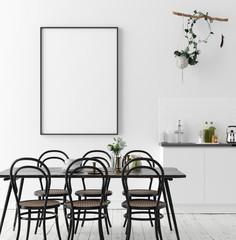 Poster mock up in rustic dining room, Scandinavian style, 3d render