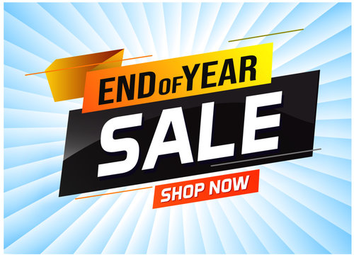 End of year Sale word concept vector illustration with lines and 3d style, landing page, template, ui, web, mobile app, poster, banner, flyer, background, gift card, coupon, label, wallpaper