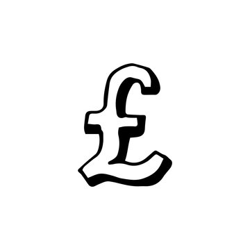 Sketch of english currency - pound. Hand draw vector illustration isolated on white background