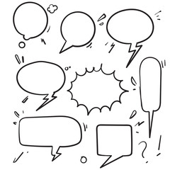 Speech bubbles. Vintage word bubbles, retro bubbly comic shapes. Thinking and speaking clouds with doodle vector set