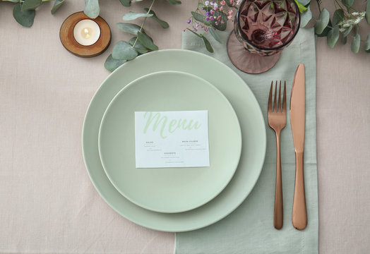 Beautiful table setting for wedding celebration in restaurant