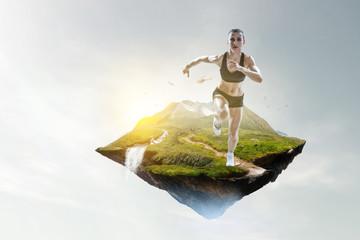 Sport woman running race. Mixed media