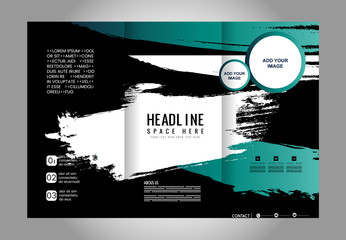 Tri fold brochure template design vector illustration