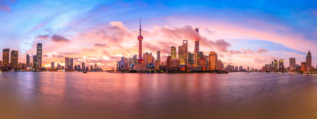 Sunset architectural landscape and skyline in Shanghai