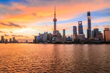Foto op Aluminium Koraal Sunset architectural landscape and skyline in Shanghai