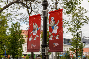 Russia, Yekaterinburg - June 15, 2018: Banners with the image of Zabivak. World Cup 2018 in Russia