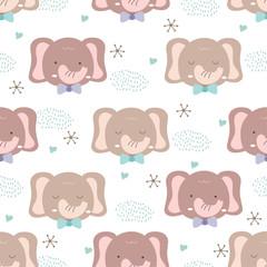 Hand drawn baby animal style. Cute elephant cartoon doodle pastel wallpaper