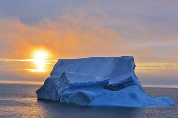 Melting iceberg in Arctic ocean