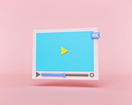 creative minimal style 4k Video media player Interface isolated on pastel red background. design for Social media, banner, poster and website. 3d rendering