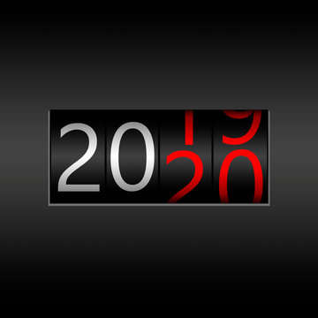 2020. New Year Black Odometer on black background - New Year 2020 design, odometer style with white and red numbers