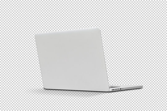Back view Of the latest laptop Designed to be slim modren , isolated on transparent background