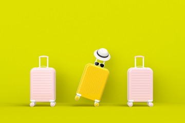 Modern yellow and pink suitcases bag with sun glasses and hat on green background. Travel concept. Vacation trip. Copy space. Minimal style. 3D rendering illustration