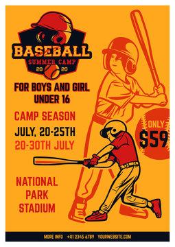 vintage brochure leaflet flyer poster baseball kids summer camp template