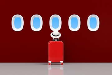 Modern red suitcases bag with sun glasses, hat and airplane window on red background. Travel concept. Vacation trip. Copy space. Minimal style. 3D rendering illustration